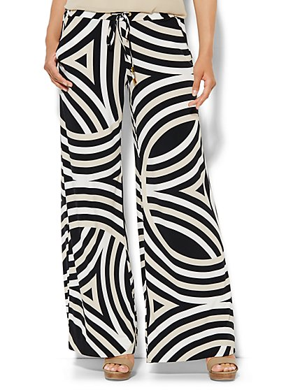 Palazzo Soft Pant - Abstract Stripe  - New York & Company