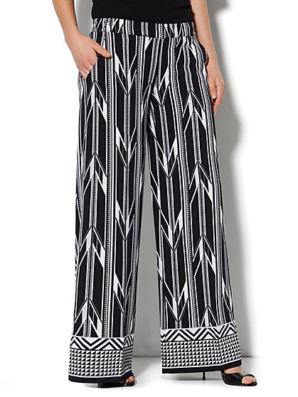 Palazzo Soft Pant - Geo Print - Average - New York & Company