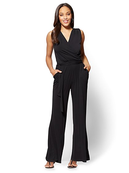 Palazzo Wrap Jumpsuit - Black - New York & Company