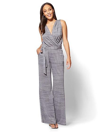 Palazzo Wrap Jumpsuit - Heather Grey - New York & Company