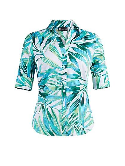 Palm-Print Madison Stretch Shirt - Secret Snap - 7th Avenue - New York & Company