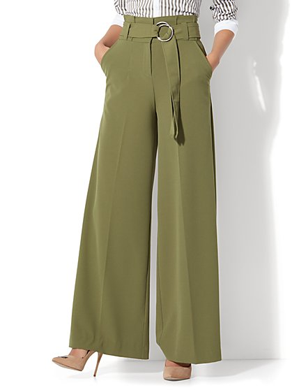 Paper Bag-Waist Wide-Leg Pant - Dark Olive - New York & Company