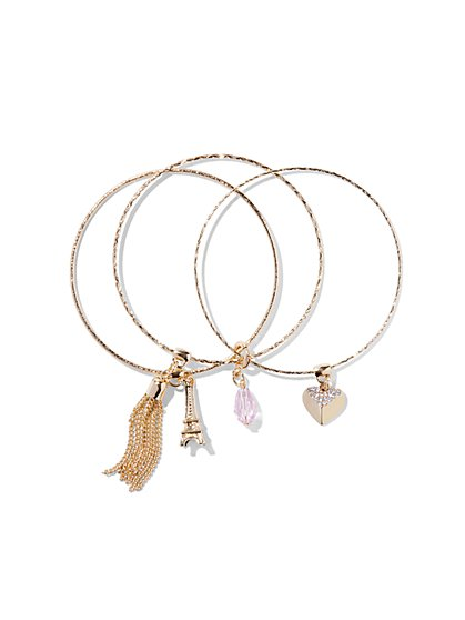 Paris Charm Bangle Bracelet Set  - New York & Company