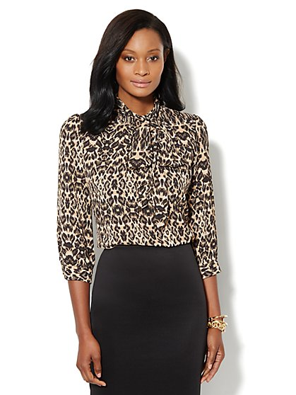 Park Avenue Bow Blouse - Animal Print - New York & Company