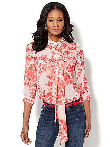 Park Avenue Bow Blouse - Brushstroke Floral Print - New York & Company