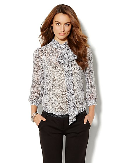 Park Avenue Bow Blouse - Leopard Print - New York & Company