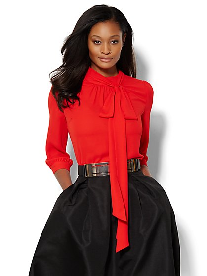Park Avenue Bow Blouse - Solid  - New York & Company