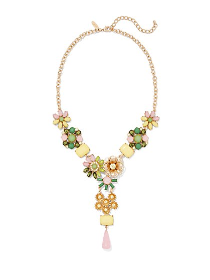 Pastel-Beaded Floral Y Necklace  - New York & Company