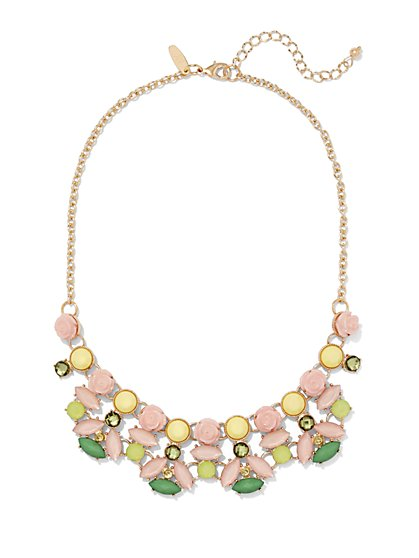 Pastel-Beaded Rosette Necklace  - New York & Company