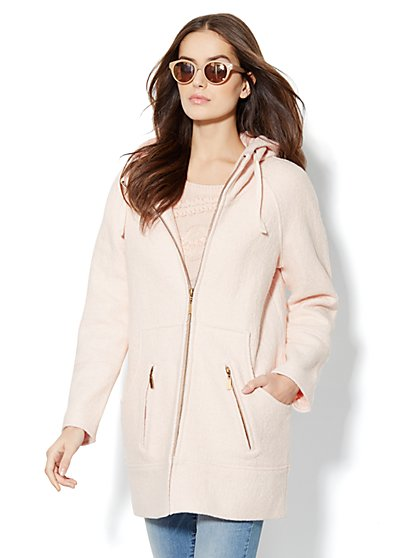 Pastel Boucle Wool-Blend Hooded Coat  - New York & Company