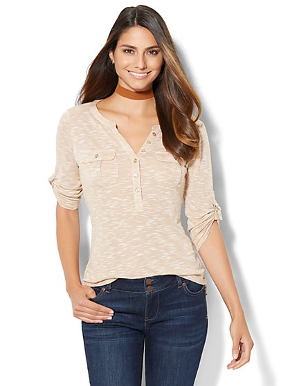 Patch-Pocket Henley Top - Space Dye  - New York & Company