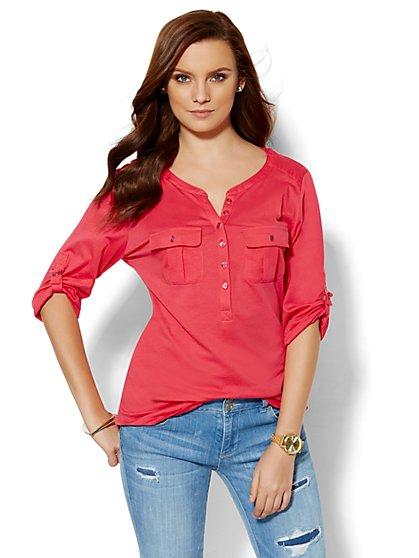 Patch-Pocket Henley Top  - New York & Company