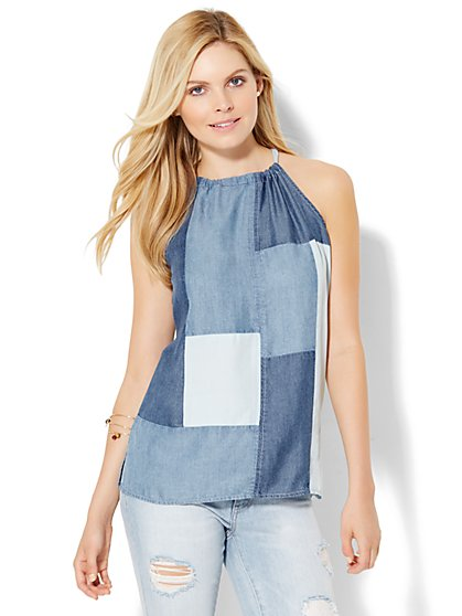 Patchwork Halter Blouse  - New York & Company
