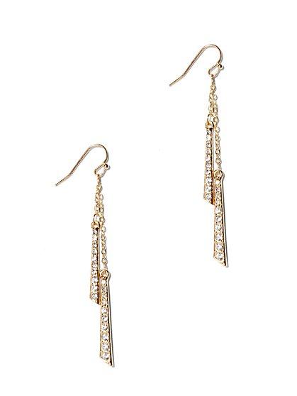 Pavé, Bar & Chain-Link Drop Earring  - New York & Company