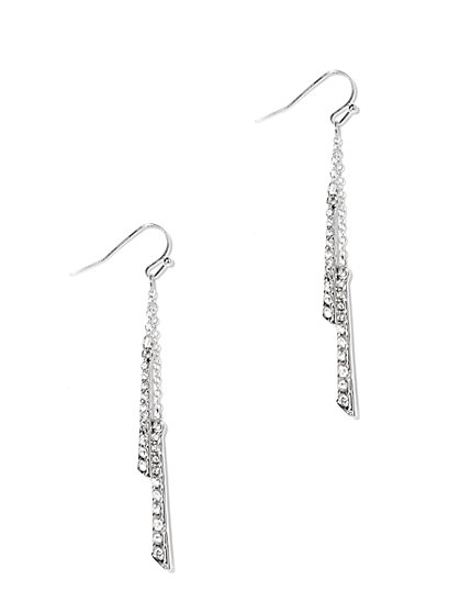 Pavé, Bar & Chain-Link Drop Earring  - New York & Company