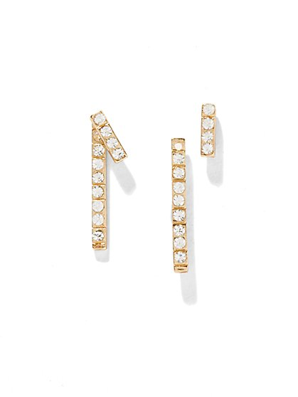 Pavé Bar Front/Back Earrings  - New York & Company