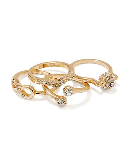 Pavé Crystal Stacked Ring Set  - New York & Company