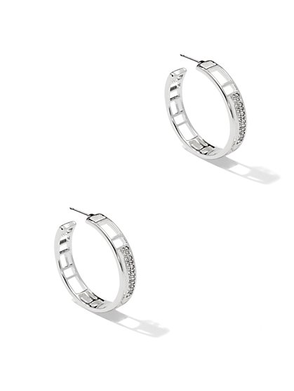 Pavé Cutout Hoop Earrings  - New York & Company