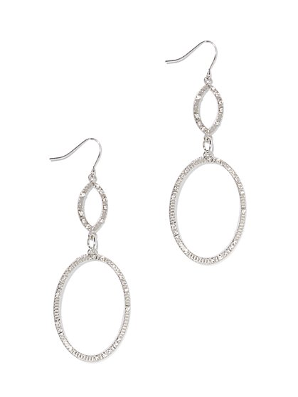 Pavé Double-Hoop Drop Earring  - New York & Company