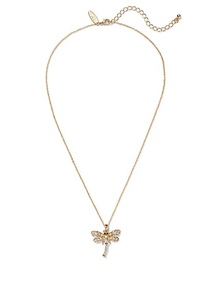 Pavé Dragonfly Pendant Necklace  - New York & Company