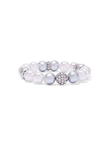 Pavé & Faux Pearl Stretch Bracelet  - New York & Company