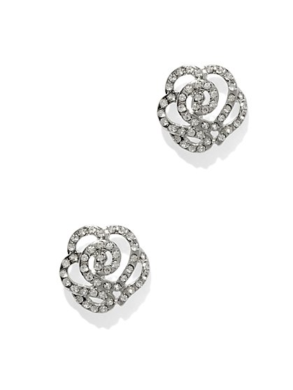 Pavé Floral Cutout Post Earring  - New York & Company