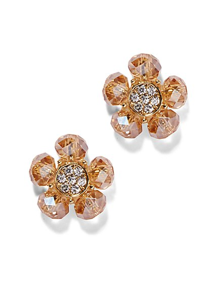 Pavé Floral Post Earring  - New York & Company