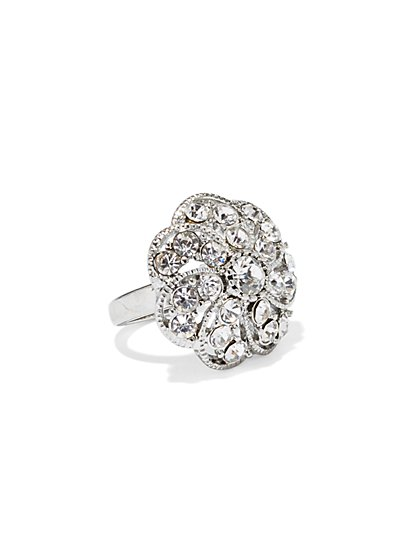Pavé Floral Ring  - New York & Company