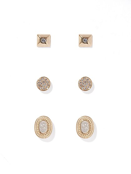 Pavé Goldtone Post Earring Set   - New York & Company