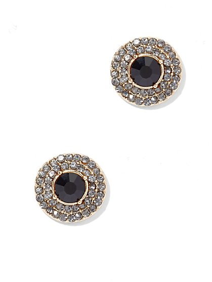 Pavé Goldtone Post Earring  - New York & Company