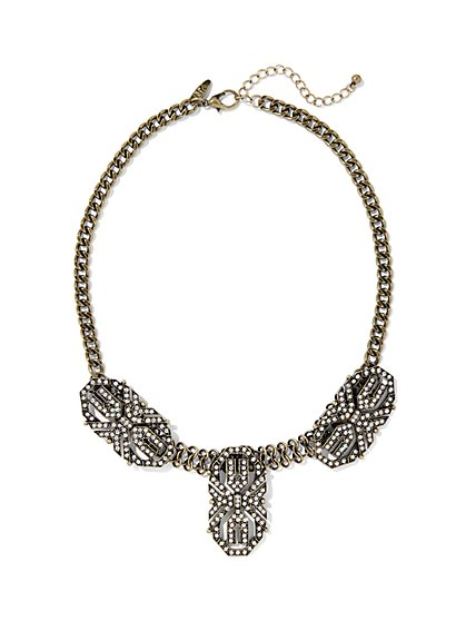 Pavé Goldtone Shield Necklace  - New York & Company