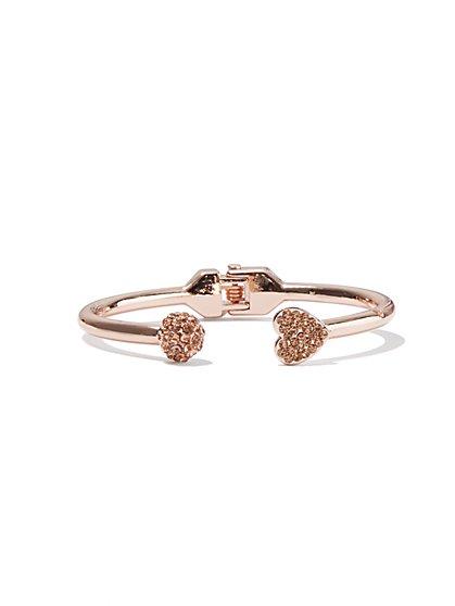 Pavé Heart Cuff Bracelet  - New York & Company