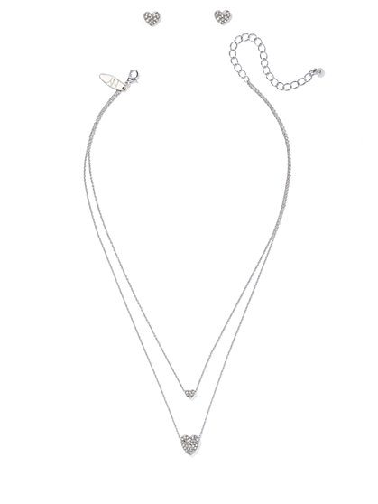 Pavé Heart Necklace & Earring Set  - New York & Company