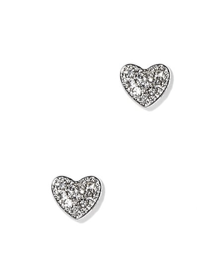 Pavé Heart Post Earring  - New York & Company