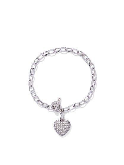 Pavé Heart & Toggle Bracelet  - New York & Company