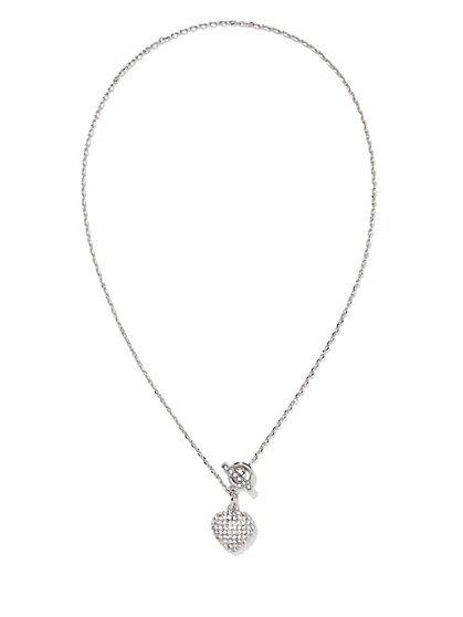 Pavé Heart & Toggle Pendant Necklace  - New York & Company