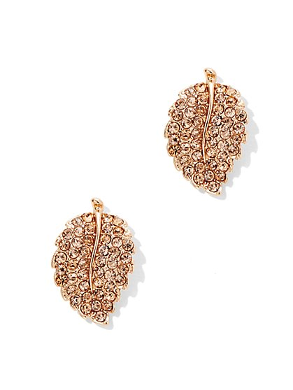 Pavé Leaf Post Earring  - New York & Company