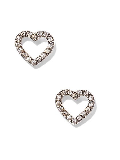Pavé Open Heart Post Earring  - New York & Company