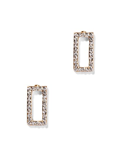 Pavé Open Rectangle Earring  - New York & Company