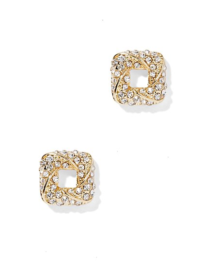 Pavé Open-Square Earring  - New York & Company