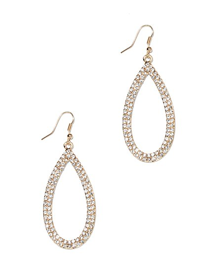 Pavé Open Teardrop Earring  - New York & Company