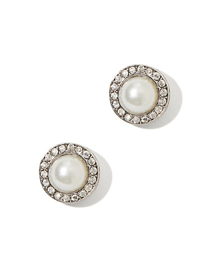 Pavé Pearl Earring - New York & Company
