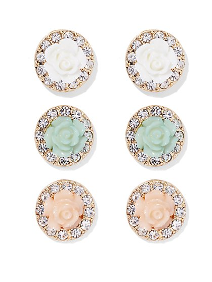 Pavé Rosette Post Earring Set  - New York & Company