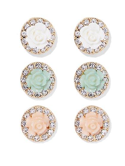 Pavé Rosette Post Earring Set  - New York & Company