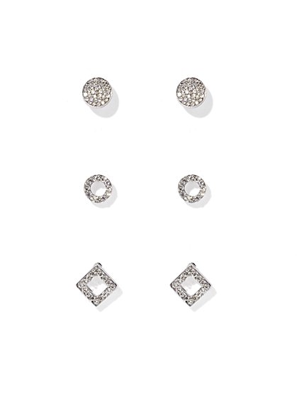 Pavé Silvertone Post Earring Set  - New York & Company