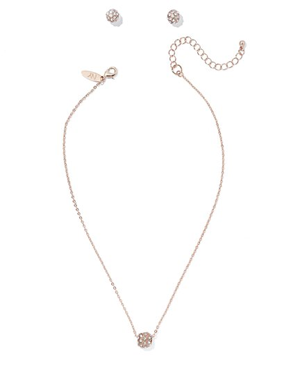 Pavé Sphere Necklace & Earring Set  - New York & Company