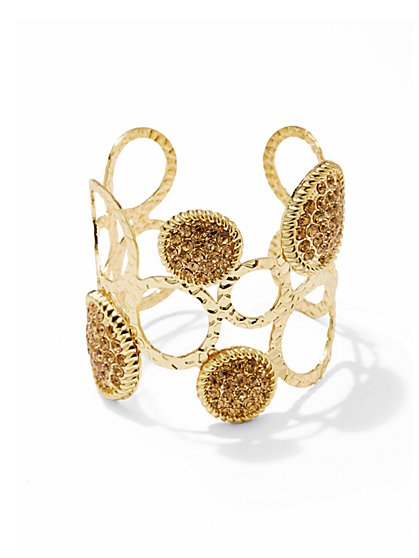 Pavé Stone Circle Cuff Bracelet  - New York & Company