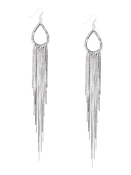 Pavé Teardrop Fringe Earring  - New York & Company
