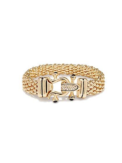 Pave-Buckle Mesh-Chain Bracelet