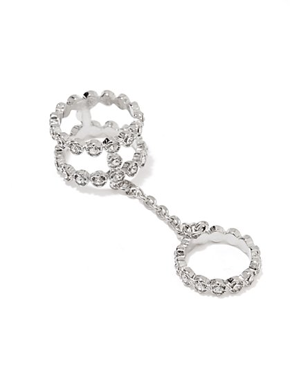 Pave Crystal Chain Ring  - New York & Company